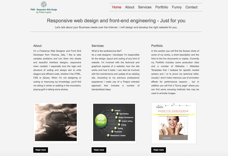 Personal Website Paolo Lupato v#1 - see technical details